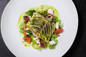Cod, broad beans, goat's curd, heritage tomato