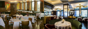 Double take: The Ivy's trademark stained glass windows were a feature of the restaurant when we launched our first guide in 1992 (left) and today in 2015 (right) after a recent refurb'.