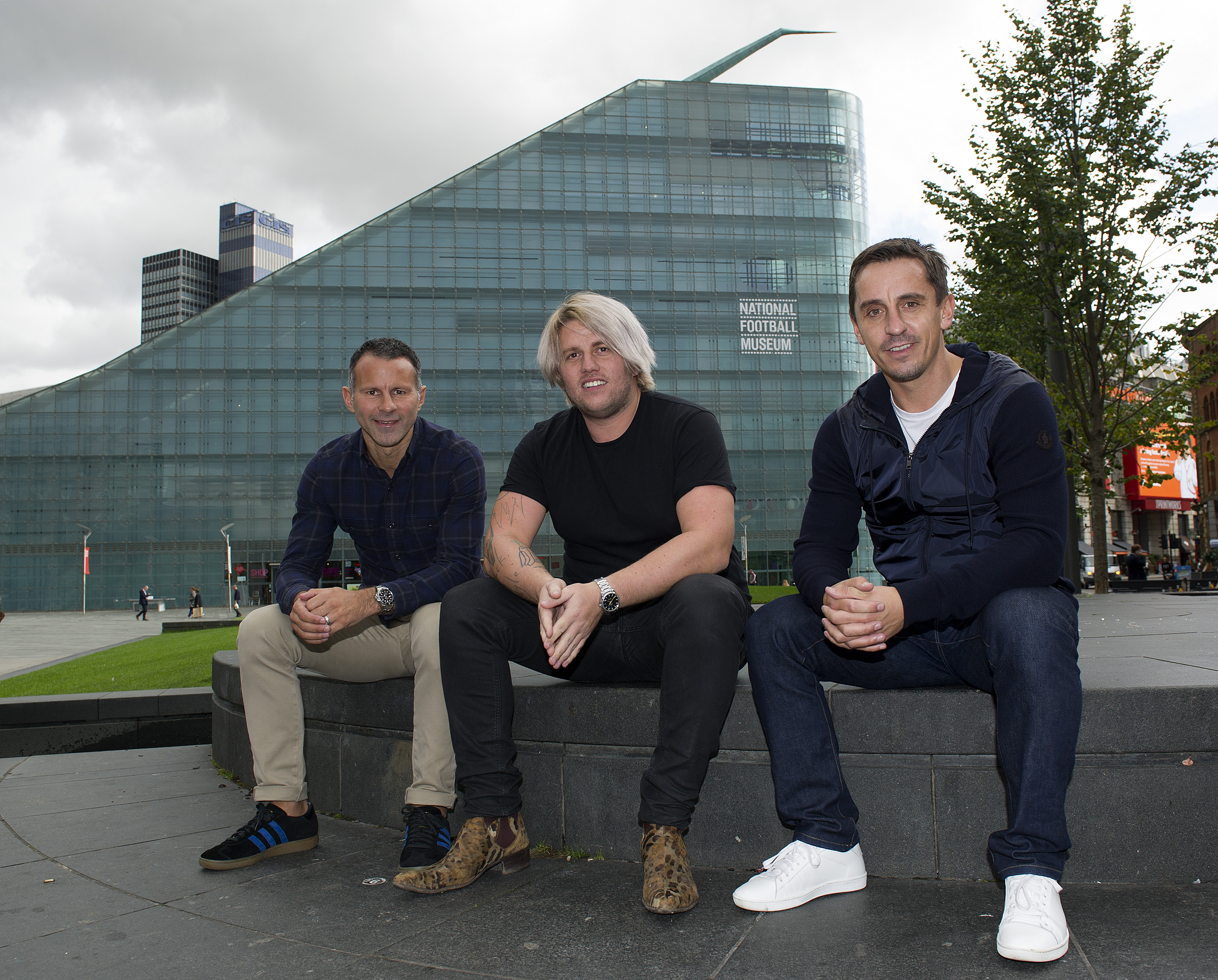 Photograph by Peter Powell.  30-09-2016 Ryan Giggs with Gary Neville an Michelin -stared chef Michael O'Hare