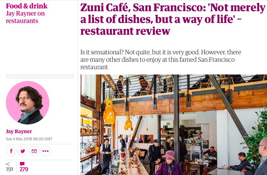 Zuni Cafe Restaurant San Francisco